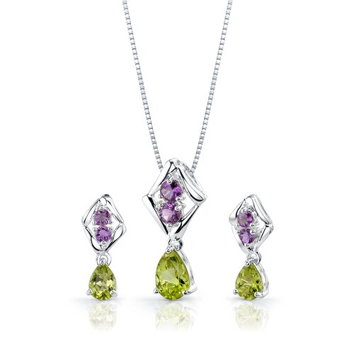 Oravo 3.75 cts Pear Peridot Round Amethyst Pendant Earrings in Sterling Silver Free 18 inch Necklace