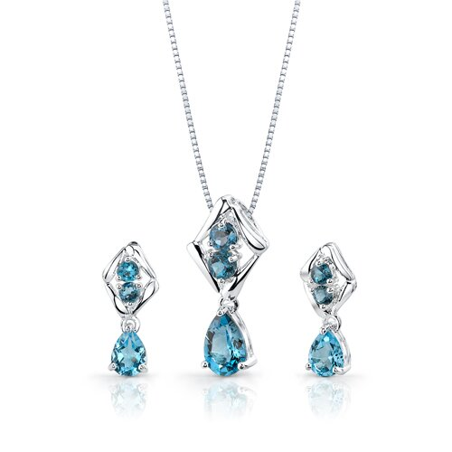 Oravo 4.00 cts Pear Swiss Topaz Round London Topaz Pendant Earrings in Sterling Silver Free 18 inch Necklace