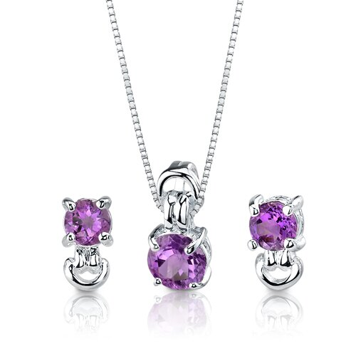 Oravo Round Cut Gemstone Pendant Earrings in Sterling Silver with 18 inch Necklace