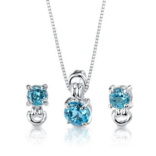 3.00 cts Round Cut Swiss Blue Topaz Pendant Earrings in Sterling Silver Free 18 inch ...