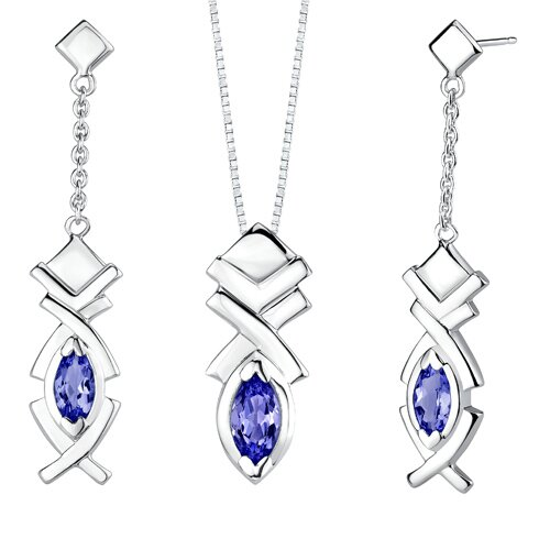 Marquise Shape Sapphire Pendant Earrings Set in Sterling Silver