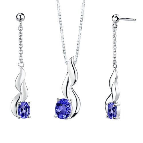 "Oravo "" Oval Shape Sapphire Pendant Earrings Set in Sterling Silver"