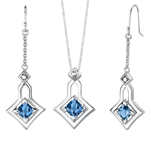 Oravo 4.50 carats Princess Cut London Blue Topaz Pendant Earrings Set in Sterling Silver