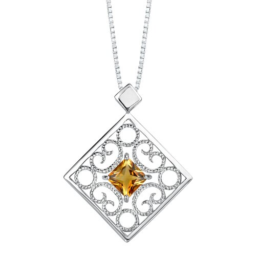 Oravo 2.50 carats Princess Cut Citrine Pendant Earrings Set in Sterling Silver
