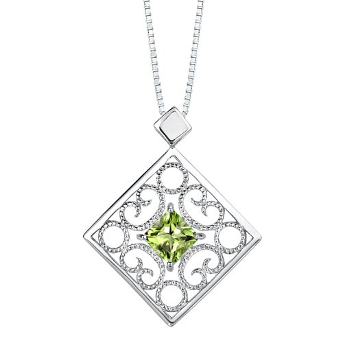 Oravo 3.25 carats Princess Cut Peridot Pendant Earrings Set in Sterling Silver