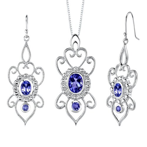 Oval and Round Shape Sapphire Pendant Earrings Set in Sterling Silver