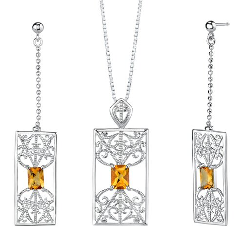 "Oravo 2.5"" 2.75 carats Radiant Cut Citrine Pendant Earrings Set in Sterling Silver"