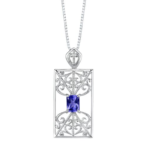 "Oravo 2.5"" Radiant Cut Sapphire Pendant Earrings Set in Sterling Silver"