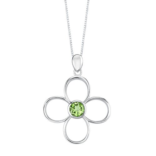 Oravo 2.75 carats Round Shape Peridot Pendant Earrings Set in Sterling Silver
