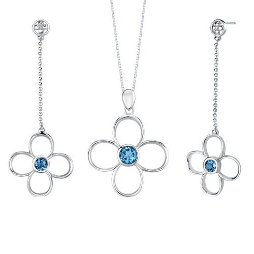 Oravo 3.00 carats Round Shape London Blue Topaz Pendant Earrings Set in Sterling Silver