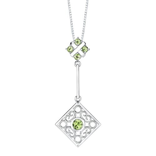 Oravo 3.50 carats Round Shape Peridot Pendant Earrings Set in Sterling Silver