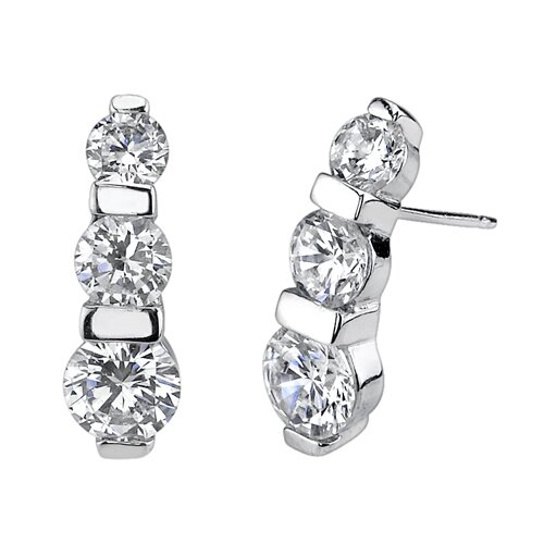 Oravo Romantic Pledge Sterling Silver Designer Inspired 3-stone Jewelry Drop Style Earring Pendant set with Cubic Zirconia