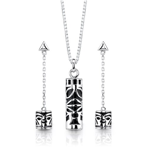 Magical Sophistication Sterling Silver Designer Inspired Earring Pendant Set with Black Onyx