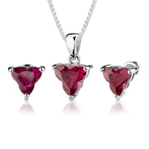 Ultimate Passion 10.50 carat Tri Flower Cut Ruby Pendant Earring Set in Sterling Silver
