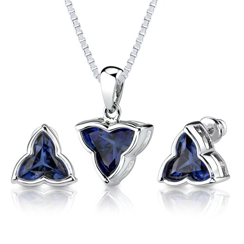 Ultimate Sophistication 10.75 carat Tri Flower Cut Blue Sapphire Pendant Earring Set in ...