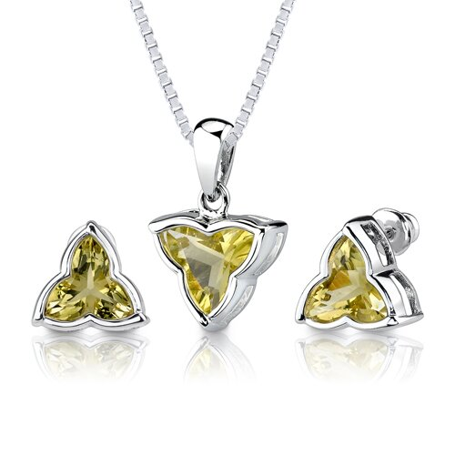 Oravo Ultimate Fashion 6.75 carat Tri Flower Cut Lemon Quartz Pendant Earring Set in Sterling Silver