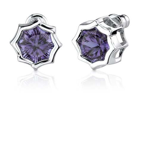 Oravo Exclusive Splendor Carats Concave-Cut Snowflake Shape Alexandrite Pendant Earring Set in Sterling Silver