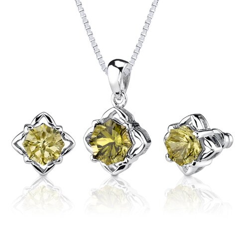 Exclusive Splendor 6.75 Carats Concave-Cut Snowflake Shape Lemon Quartz Pendant Earring Set in ...