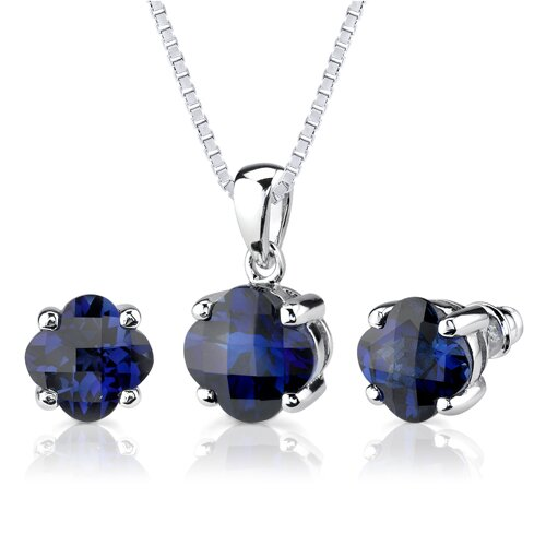 Classic Sophistication 10.50 Carats Checkerboard Lily Cut Blue Sapphire Pendant Earring Set in ...