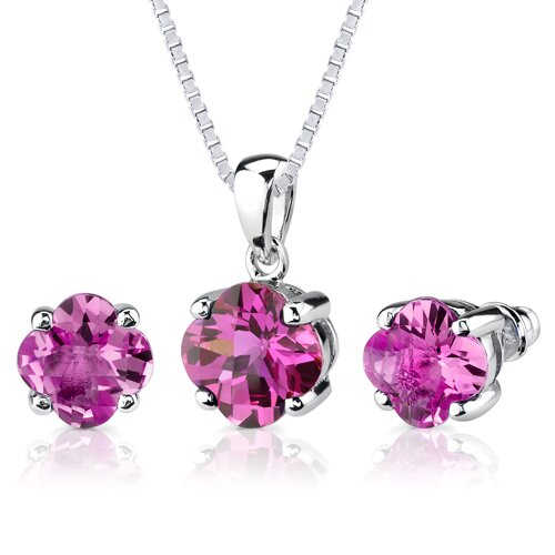 Classic Enchantment 10.25 Carats Checkerboard Lily Cut Pink Sapphire Pendant Earring Set in ...