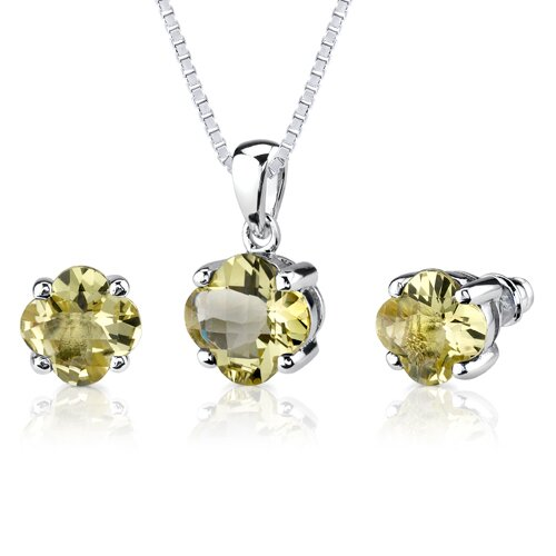 Classic Fashion 6.25 Carats Checkerboard Lily Cut Lemon Quartz Pendant Earring Set in Sterling ...