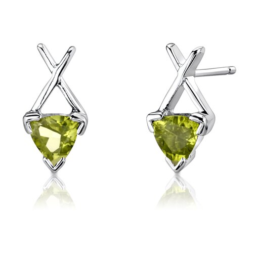 """Oravo Sterling Silver 1.75 Carats Trillion Cut Peridot Pendant Earrings and 18"""" Necklace Set"""