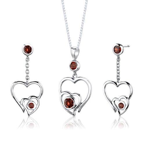 Sterling Silver Round shape Garnet Pendant Earrings and 18