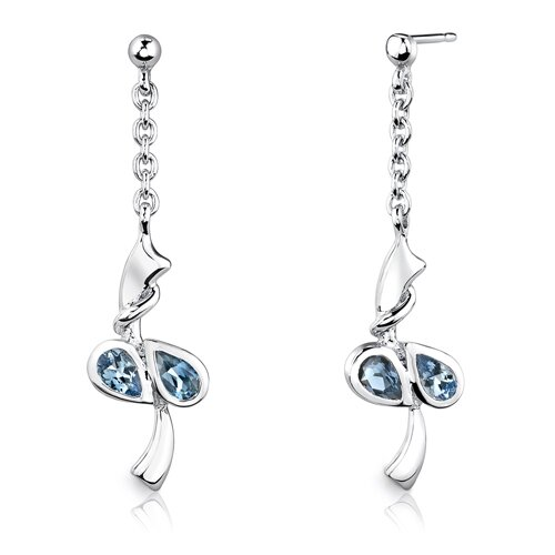 "Oravo Sterling Silver 2.00 Carats Pear Shape Swiss Blue Topaz Pendant Earrings and 18"" Necklace Set"