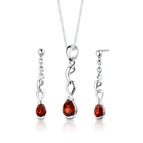 Sterling Silver 1.75 Carats Pear Shape Garnet Pendant Earrings and 18