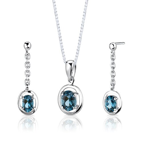 Sterling Silver 1.50 Carat Oval Shape Gemstone Pendant Earrings and 18