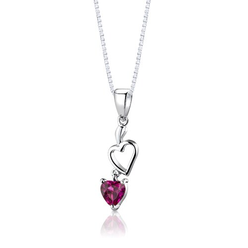 "Oravo Sterling Silver Heart Shape Ruby Pendant Earrings and 18"" Necklace Set"