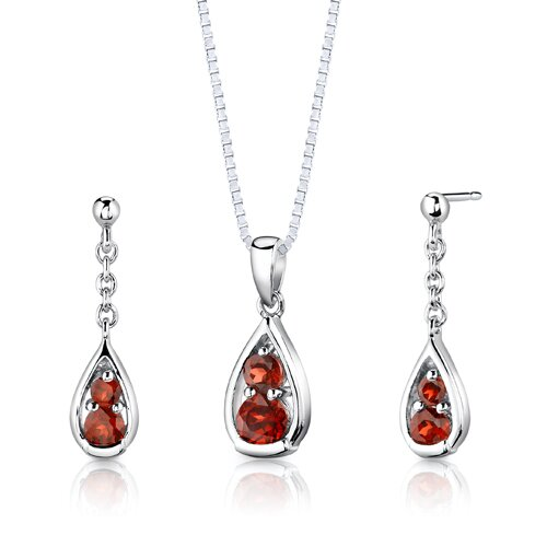 Sterling Silver 2.00 Carats Round Shape Garnet Pendant Earrings and 18