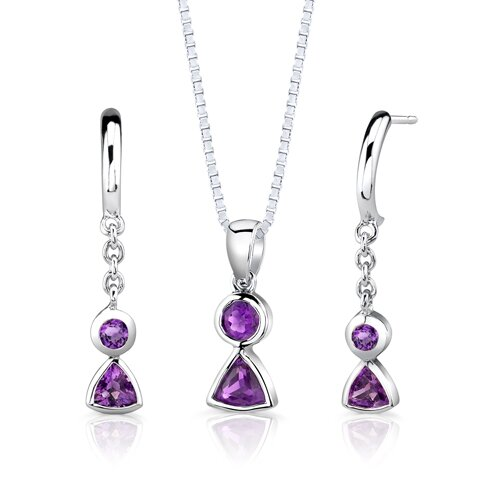 "Oravo Sterling Silver 1.25 Carat Multishape Gemstone Pendant Earrings and 18"" Necklace Set"