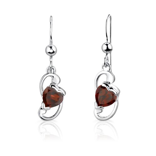 "Oravo Sterling Silver 1"" Heart Shape Garnet Pendant Earrings and 18"" Necklace Set"