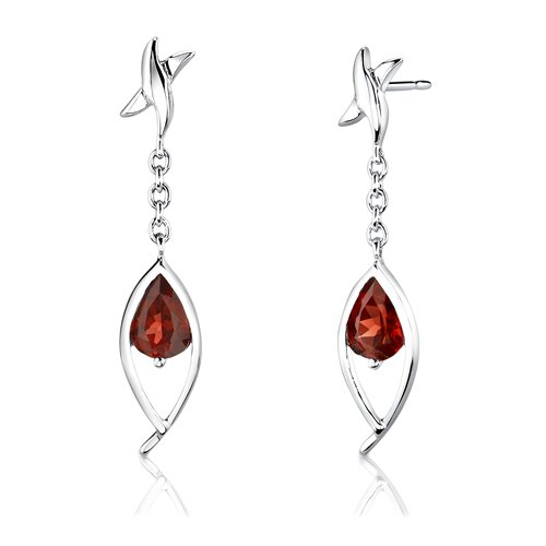 """Oravo Sterling Silver Pear Shape Garnet Pendant Earrings and 18"""" Necklace Set"""
