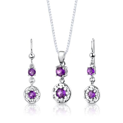 Sterling Silver 2.00 Carats Round Shape Gemstone Pendant Earrings and 18