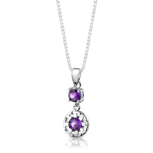 """Oravo Sterling Silver 2.00 Carats Round Shape Gemstone Pendant Earrings and 18"""" Necklace Set"""