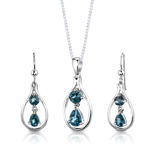 """Oravo Sterling Silver 3.00 Carats Multishape London Blue Topaz Pendant Earrings and 18"""" Necklace Set"""