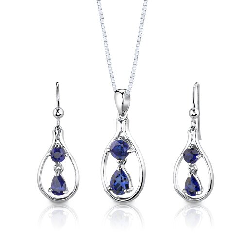 "Oravo Sterling Silver 3.00 Carats Multishape Sapphire Pendant Earrings and 18"" Necklace Set"