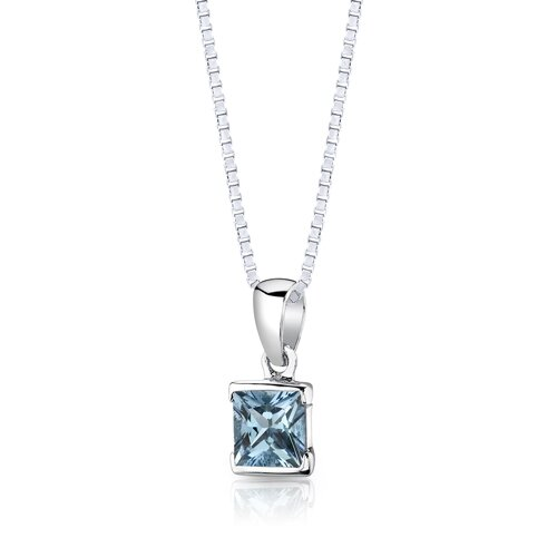 """Oravo Sterling Silver 2.75 Carats Princess Cut Swiss Blue Topaz Pendant Earrings and 18"""" Necklace Set"""