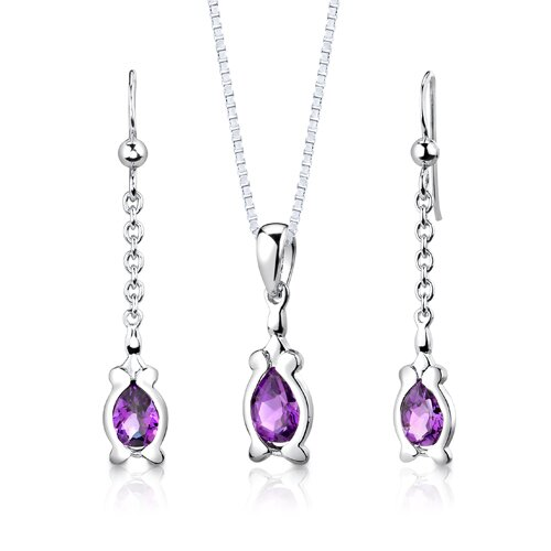 "Oravo Sterling Silver 1.75 Carats Pear Shape Amethyst Pendant Earrings and 18"" Necklace Set"