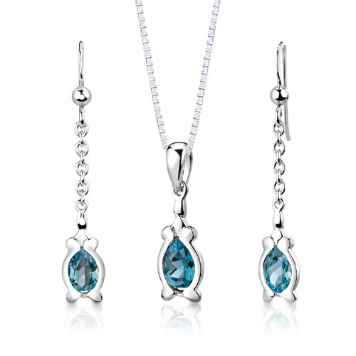 "Oravo Sterling Silver 2.25 Carats Pear Shape London Blue Topaz Pendant Earrings and 18"" Necklace Set"