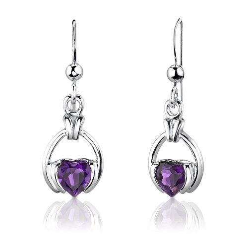 "Oravo Sterling Silver 1.75 Carats Heart Shape Amethyst Pendant Earrings and 18"" Necklace Set"