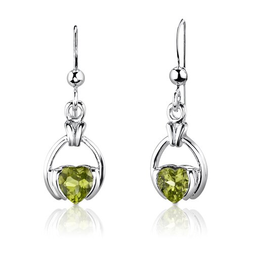 "Oravo Sterling Silver 1.75 Carats Heart Shape Peridot Pendant Earrings and 18"" Necklace Set"