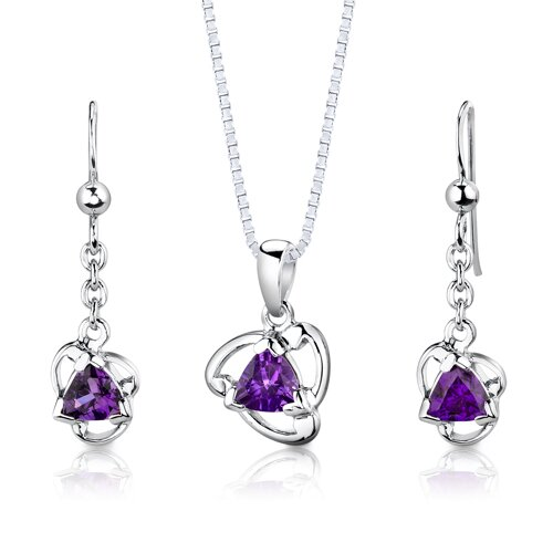 Sterling Silver 1.50 Carats Trillion Cut Amethyst Pendant Earrings and 18