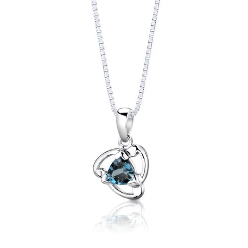 "Oravo Sterling Silver 2.75 Carats Trillion Cut London Blue Topaz Pendant Earrings and 18"" Necklace Set"