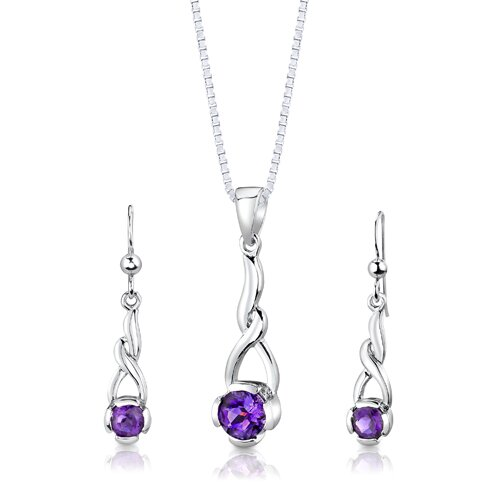 Sterling Silver 1.75 Carats Round Shape Amethyst Pendant Earrings and 18