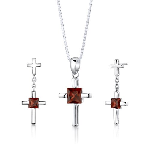 Sterling Silver Cross Design 2.75 Carats Princess Cut Garnet Pendant Earrings and 18