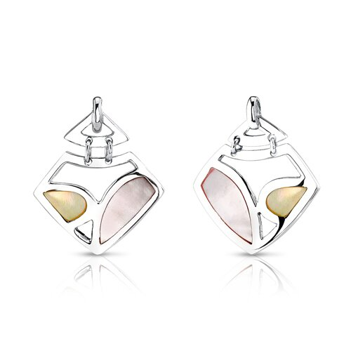 Oravo Spring Bric-a-brac Sterling Silver with Pink Yellow Mother of Pearl Pendant and Earrings Set