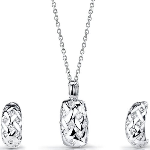 Oravo Exquisite Statement Sterling Silver Pendant Necklace Hoop Earrings Set with Cubic Zirconia